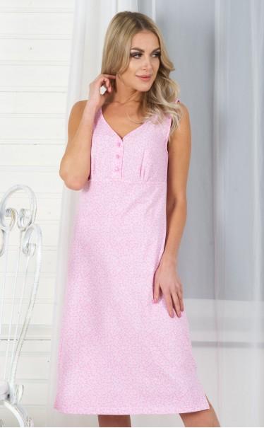 """Ночная сорочка """"Цветочки белые на розовом"""""""