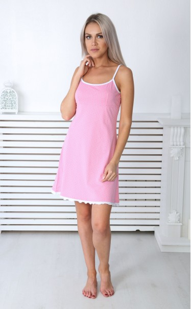 """Ночная сорочка """"Сердечки мелкие белые на розовом"""""""