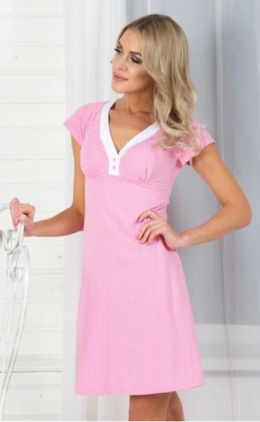"""Платье """"Сердечки мелкие белые на розовом"""""""